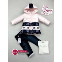 """Комплект для девочек розово-синего цвета """"Звездочка"""" (куртка, джинсы и джемпер)"""