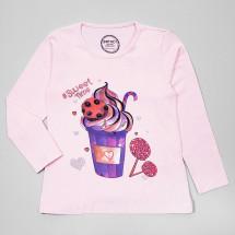 """Футболка-лонгслив розового цвета с длинным рукавом для девочек """"Десерт"""""""