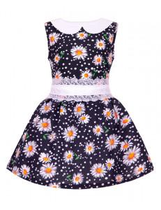 """Платье для девочки синего цвета с кружевным поясом """"Ромашки"""""""