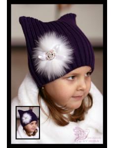 "Шапка с ушками вязаная баклажанового цвета с натуральным мехом ""Hello Kitty"""