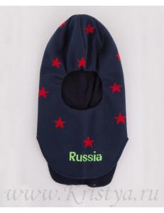 Шапка-шлем для мальчиков синий с красными звездами ЛЕШКА