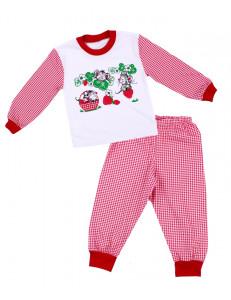 Пижама для девочек с длинным рукавом в красную клетку с мышатами