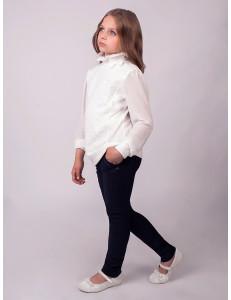 """Блузка для девочек молочного цвета """"Кружевное счастье"""""""